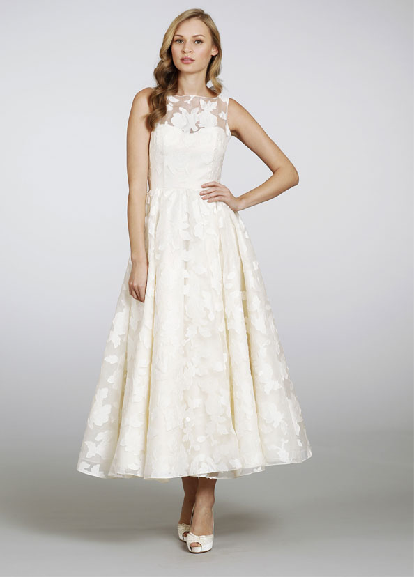 hayley-paige-bridal-silk-organza-brocade-sheer-tea-length-gown-open-back-bateau-neckline-circular-skirt-6310_zm