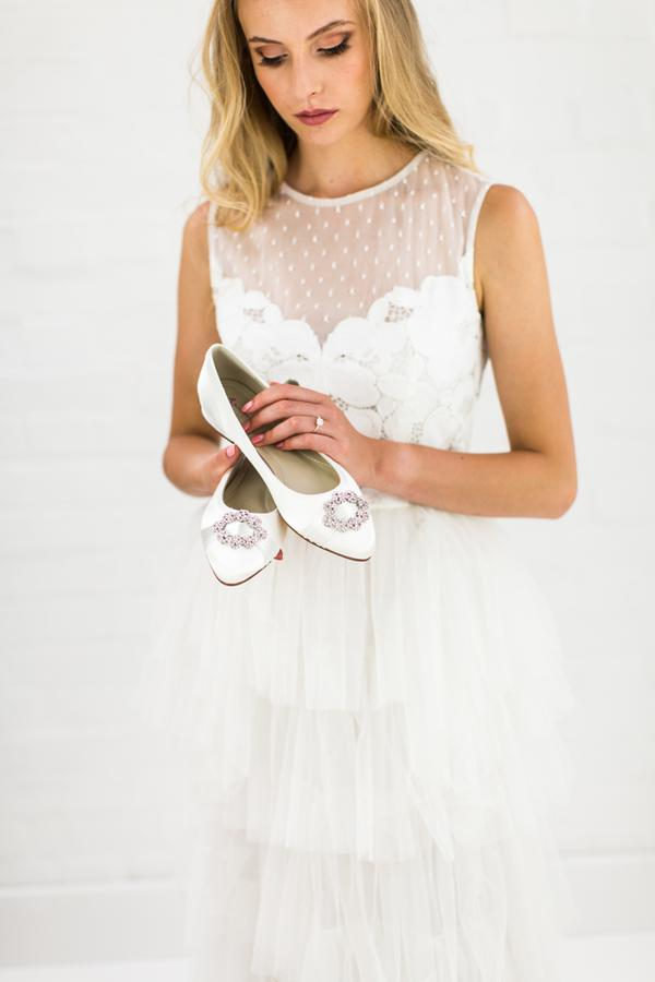 platte bruidsschoen ballerina