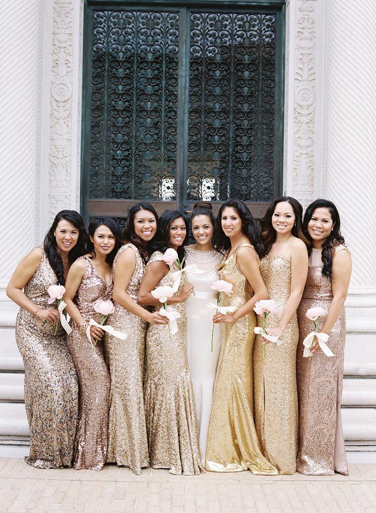 glitterende bruidsmeisjes