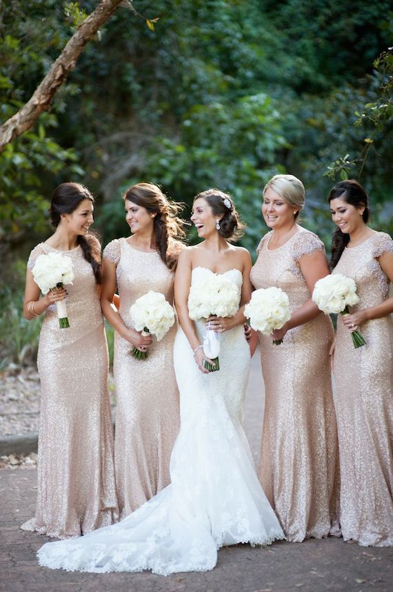 glitterende bruidsmeisjes jurken
