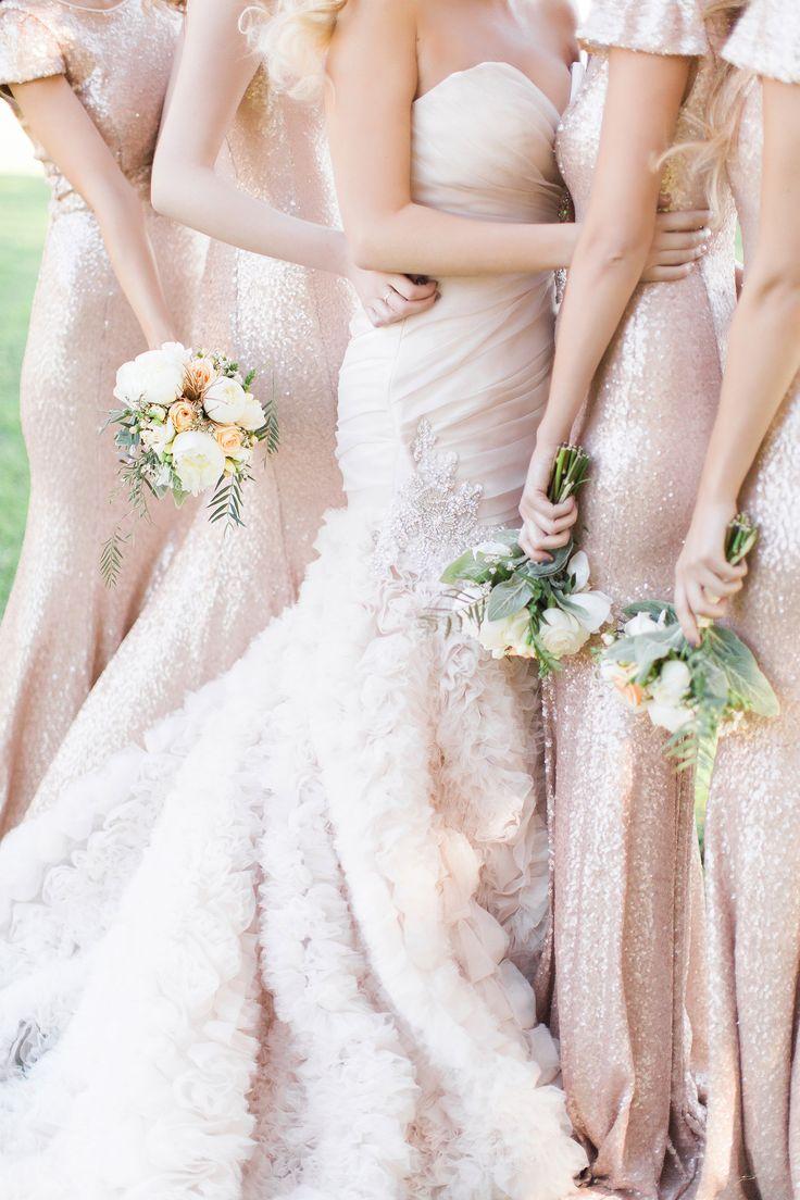 roze glitter bruidsmeisjes