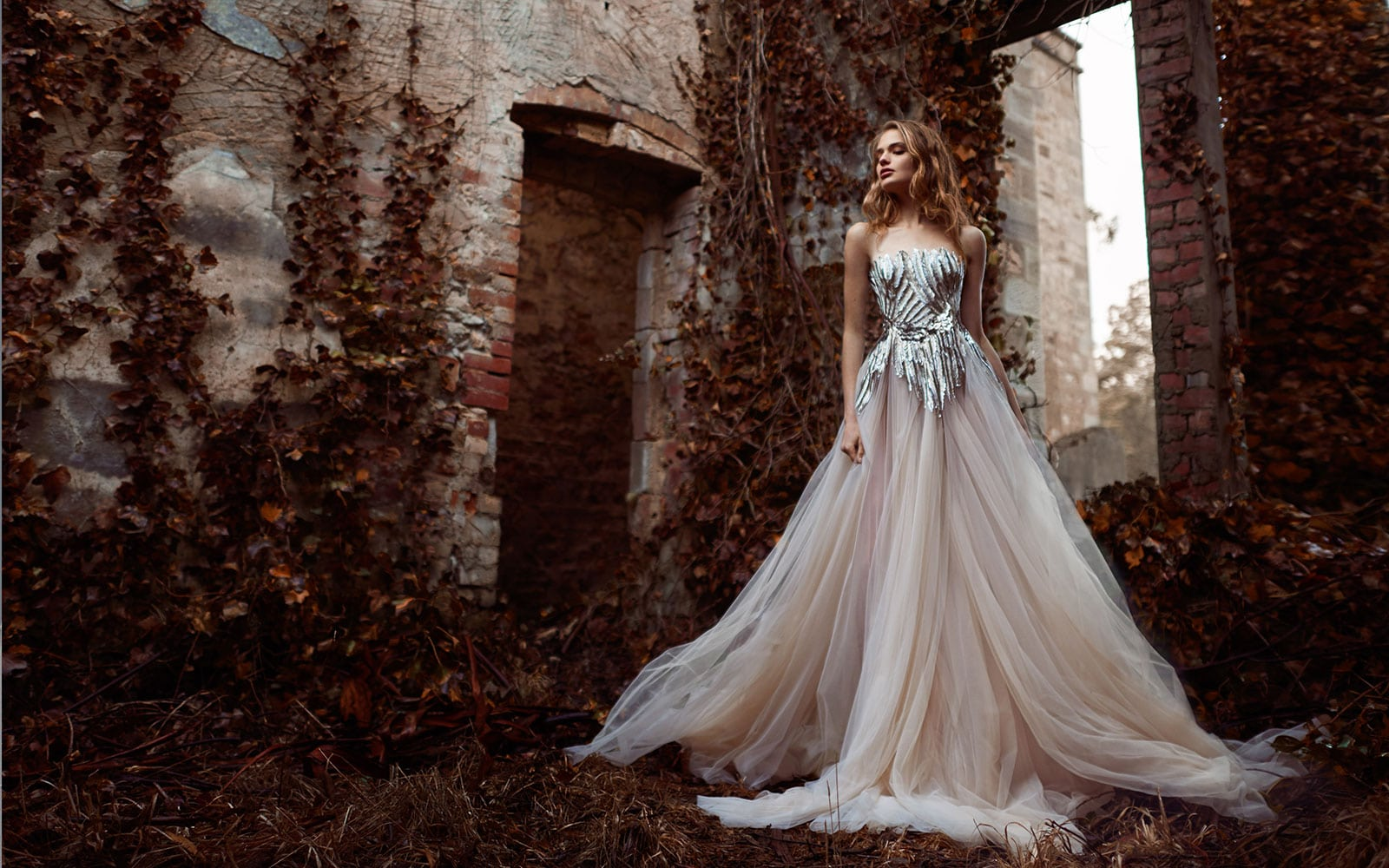 glitterde trouwjurk