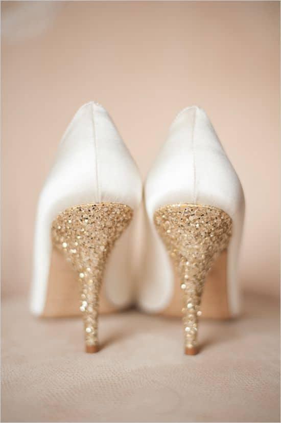 glitterende trouwschoenen