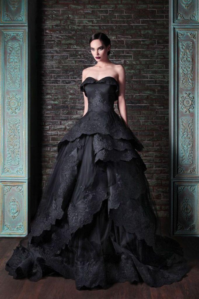 zwarte trouwjurk