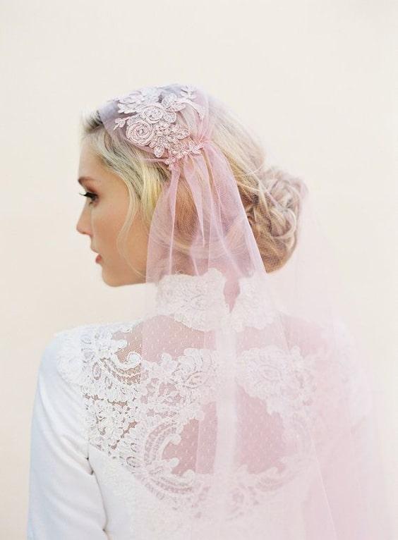 roze bruidssluier