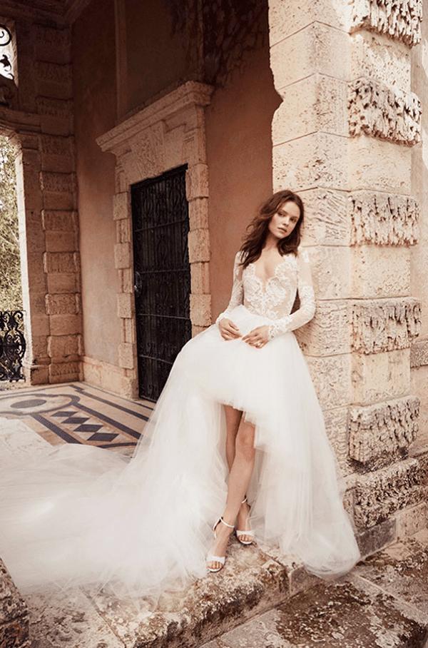 bruidsmodetrends voor 2020 voor kort en achter lang