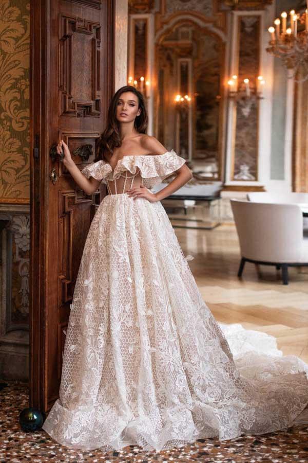 prinsessen trouwjurken met off-the-shoulder halslijn 7