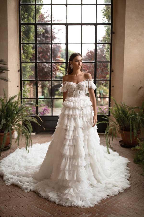 prinsessen trouwjurken met off-the-shoulder halslijn 6