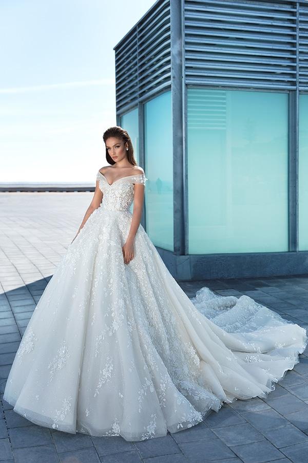 prinsessen trouwjurken met off-the-shoulder halslijn Crystal Design