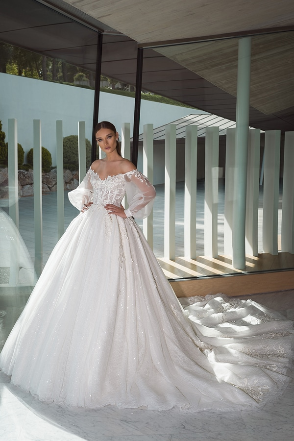 prinsessen trouwjurken met off-the-shoulder halslijn met lange mouwen