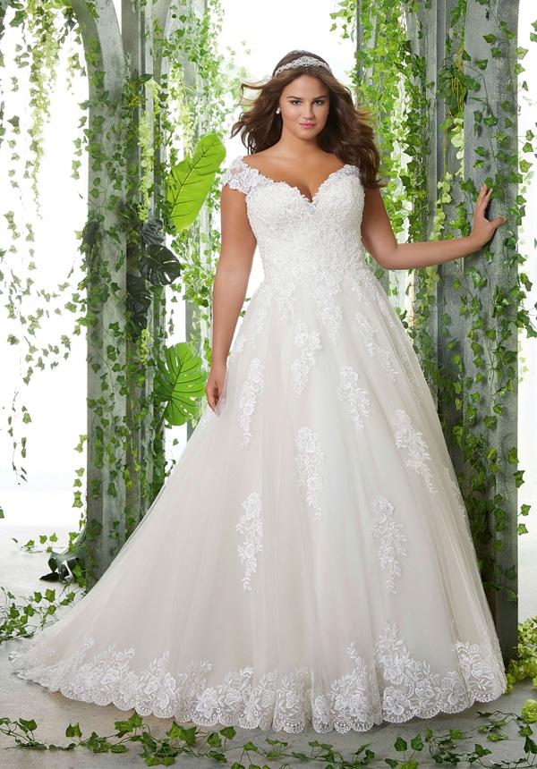 prinsessen trouwjurken met off-the-shoulder halslijn plus size