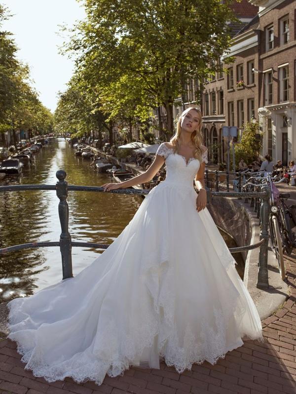 prinsessen trouwjurken met off-the-shoulder halslijn modeca