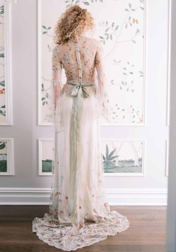 gekleurde trouwjurk Claire Pettibone