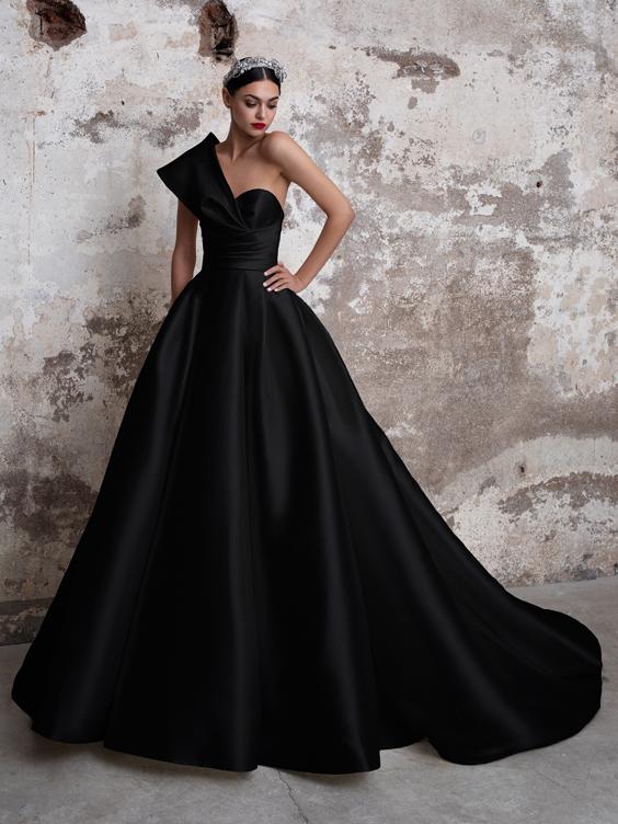 gekleurde trouwjurk zwart